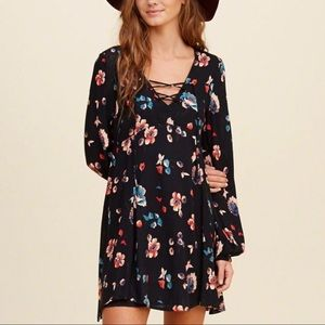 Black floral lace up dress. NWOT
